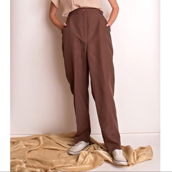 5cdad18f Vintage 80s brown minimalist high waist trousers